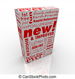 A box with many promotional messages on it, such as New and Improved