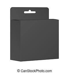 product, box., verpakken, vector, black , leeg