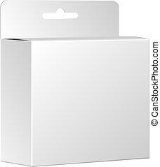 product, box., verpakken, vrijstaand, vector, achtergrond, witte