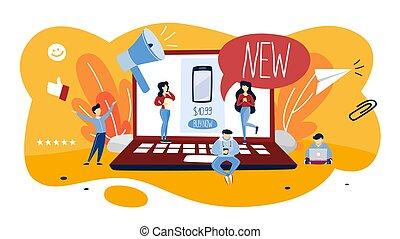 product, concept, illustratie, reclame, nieuw, bevordering