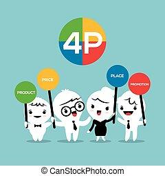 product, concept, zakelijk, marketing, prijs, 4p, malen, vermalen, plek, illustratie, bevordering, spotprent