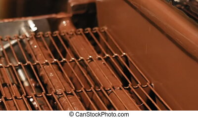 Product conveyor line on a chocolate factory - Conveyor line...