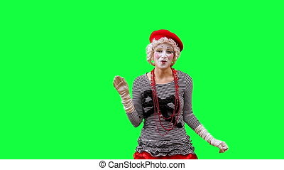 Product Demonstration - Girl mime points to the bottom of...