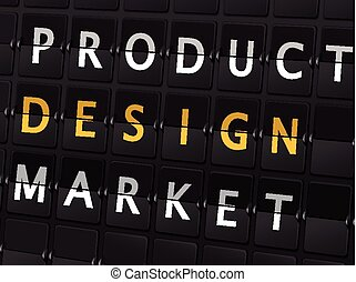 product design market words on airport board