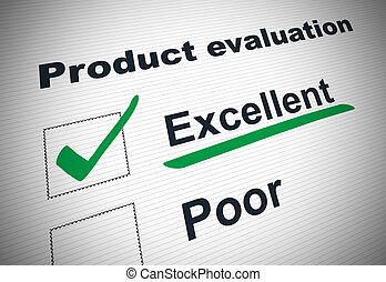 Graphic of tick box product evaluation form with green tick against EXCELLENT underlined in green