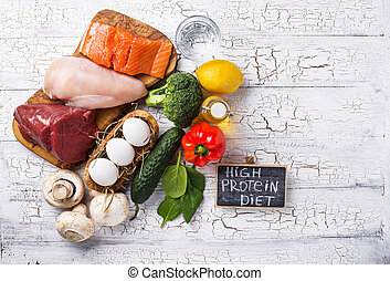 Product assortment for high protein diet. Healthy food