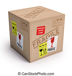 Product Fragile - Package ready to send with messages of...