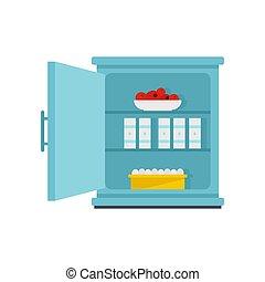 Product fridge icon, flat style