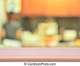 product, gebruikt, bovenzijde, achtergrond., hout, verdoezelen, tafel, display, keuken