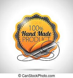 product, gemaakt, 10., duidelijk, etiketten, eps, illustratie, hand, achtergrond., vector, ontwerp, gestyleerd, glanzend