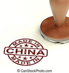 product, gemaakt, chinees, postzegel, het tonen, produceren, china, of
