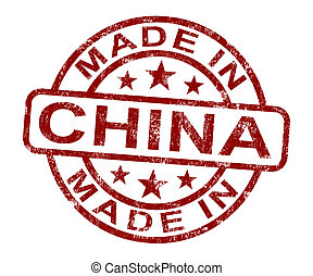 product, gemaakt, chinees, postzegel, produceren, china, of, optredens