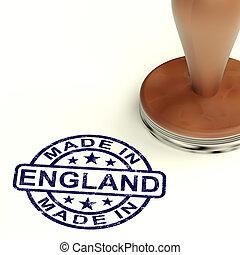 product, gemaakt, engeland, postzegel, het tonen, produceren, engelse , of
