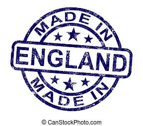 product, gemaakt, engeland, postzegel, produceren, engelse , of, optredens
