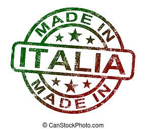 product, gemaakt, italië, postzegel, produceren, italia, of, optredens