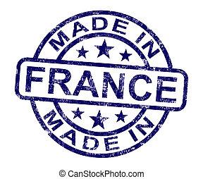 product, gemaakt, postzegel, frans frankrijk, produceren, of, optredens