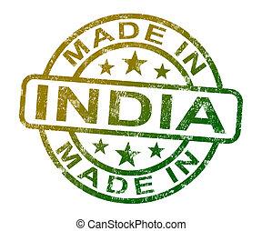 product, gemaakt, postzegel, india, produceren, indiër, of, optredens