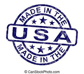 product, gemaakt, usa, postzegel, produceren, amerika, of, optredens