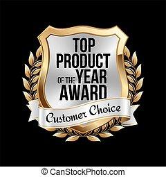 product, goud, award., bovenzijde, badge, zilver
