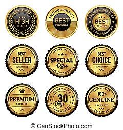 product, goud, badge, etiketten, zeehondje, kwaliteit, best