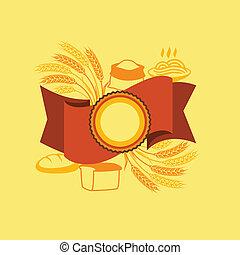 product., graan, achtergrond, etiket