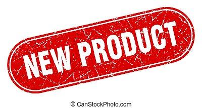 product, grunge, etiket, stamp., rood, nieuw, teken.