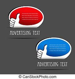 product, hand, symbool, etiketten, keuze, vector, reclame, ovaal, gebaar, bevorderen, best