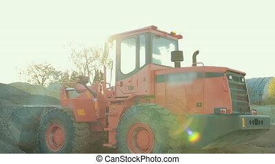 product, het verzamelen, here., tractor, groenteblik, gezien...