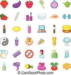 Product icons set, cartoon style