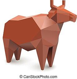 product, koe, boerderij, moderne, illustratie, polygonal, vector, melkinrichting, rood, pictogram