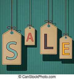 Product labels with the word sale. Retro style. Stock vector ill