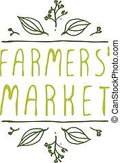product, landbouwers, -, etiket, achtergrond., witte , markt