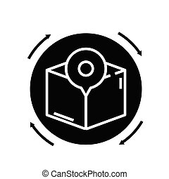 Product location black icon, concept illustration, vector flat symbol, glyph sign.