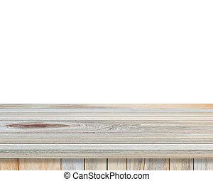 product, montages, van hout top, vrijstaand, achtergrond, tafel, witte , display, lege