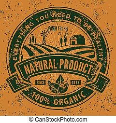 product, natuurlijke , ouderwetse , organisch, illustratie, grunge, vector, label., logo, of