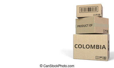 PRODUCT OF COLOMBIA text on cartons, blank space for caption. 3D animation