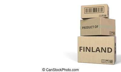 PRODUCT OF FINLAND text on cartons, blank space for caption. 3D animation