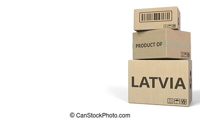 PRODUCT OF LATVIA text on cartons, blank space for caption. 3D animation