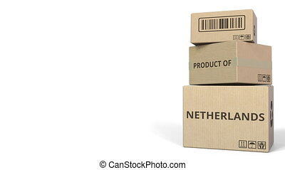 PRODUCT OF NETHERLANDS text on cartons, blank space for caption. 3D animation