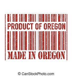 Product of Oregon, made in Oregon barcode stamp