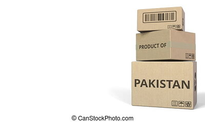 PRODUCT OF PAKISTAN text on cartons, blank space for caption. 3D animation