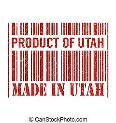 Product of Utah, made in Utah barcode stamp