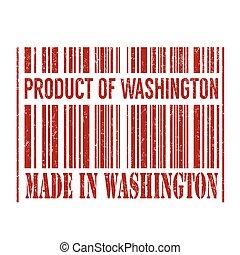 Product of Washington, made in Washington barcode stamp