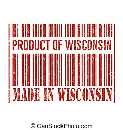 Product of Wisconsin, made in Wisconsin barcode stamp