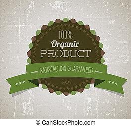 product, organisch, ouderwetse , etiket, oud, vector, retro, grunge, ronde