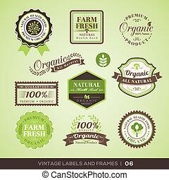 product, organisch, ouderwetse , etiketten, lijstjes, fris