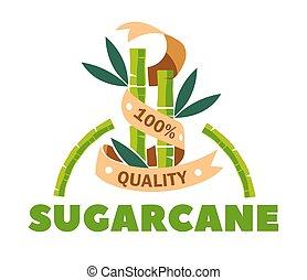product, organisch, sugarcane, vrijstaand, suiker, sweetener, pictogram