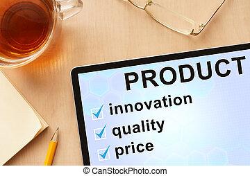 product., palabra, tableta
