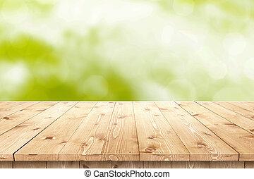 product, plaatsing, houten, zon, montage, tafel, of, lege