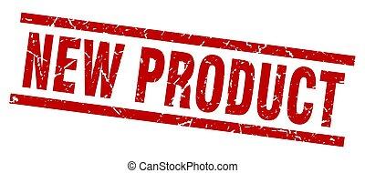 product, plein, grunge, postzegel, nieuw, rood